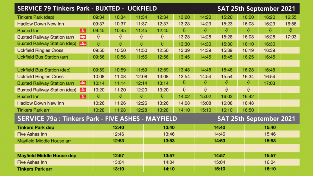 Open Day 2021 bus Timetable – Saturday 25th Sept